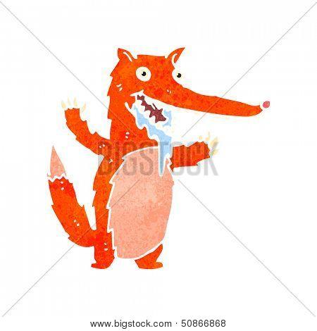 retro cartoon drooling fox