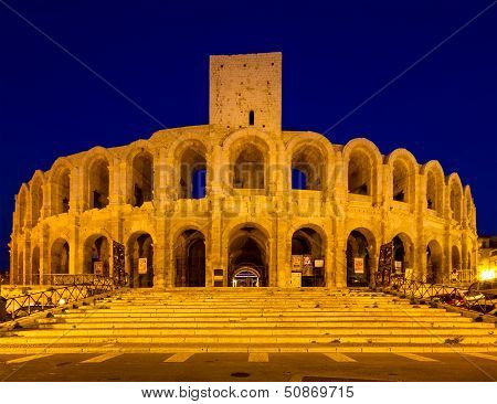 Amphitheater Of Arles At Twilight