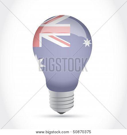 Australian Flag Idea Light Bulb Illustration