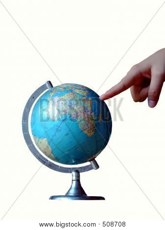 Point At World Globe.isolated