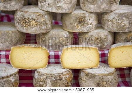 Group of varieties of French cheeses and aged