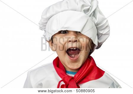 Isolated funny child dressed as a cook
