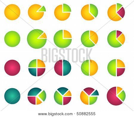 Set of 2D pie diagrams
