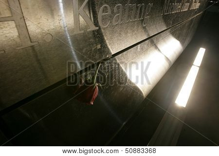 JERSEY CITY, NJ - SEPTEMBER 11: A red rose is shown within the Empty Sky 9/11 Memorial on September 11, 2013 in Jersey City, New Jersey.