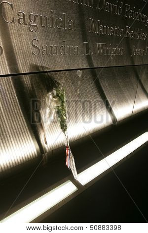 JERSEY CITY, NJ - SEPTEMBER 11: A white rose is shown within the Empty Sky 9/11 Memorial on September 11, 2013 in Jersey City, New Jersey.