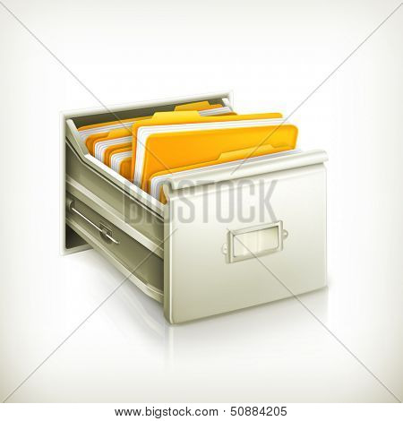 Open card catalog, vector icon