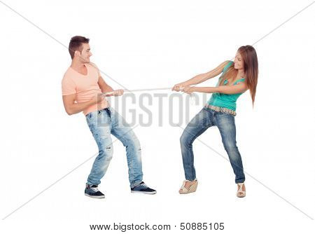 Couple of lovers pulling a rope isolated on a white background