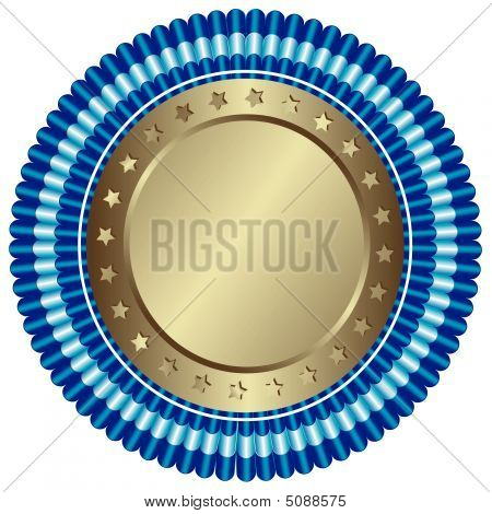Big Silvery Medal With Stars And Blue Ribbons