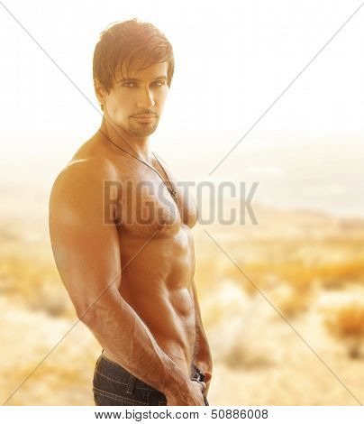 Sexy muscular man with great body outdoors in golden light