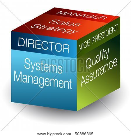 An image of a corporate roles 3d cube.