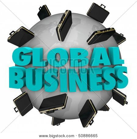 The words Global Business around a world covered in black leather suitcases to illustrate expanding companies and international growth