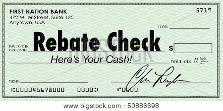 A green check with the words Rebate Check to illustrate a special money or cash back savings offer arriving for you to deposit in the bank