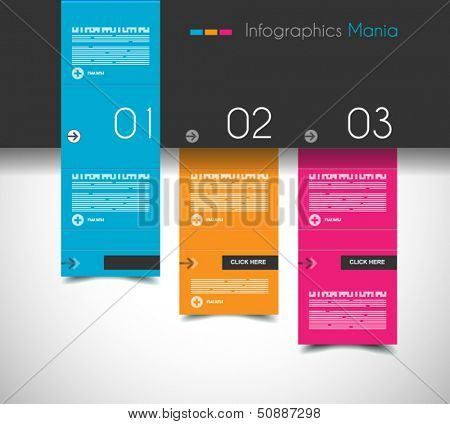 Infographic design template with flat design panels and clear uniform colours.