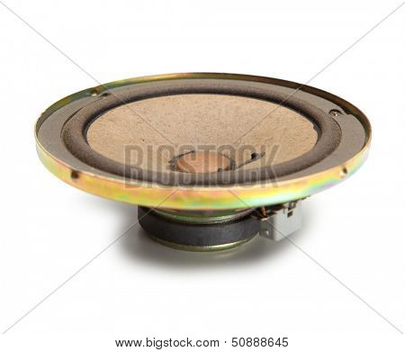 Old speaker unit with paper or pulp cone, isolated on white.