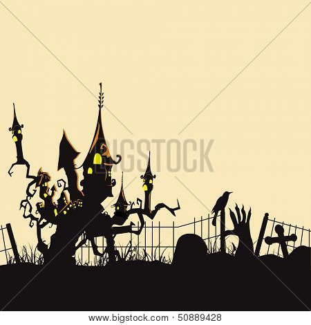 Scary Halloween background, banner or poster for trick or treat party with haunted house..