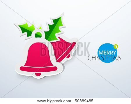 Merry Christmas celebration concept with beautiful paper sticky, tag or label  in jingle bells style.