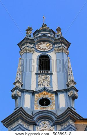 WACHAU, AUSTRIA - AUGUST 12 : A blue bell tower at Durnstein Abbey (Stift Durnstein) on August 12, 2012 in Austria.