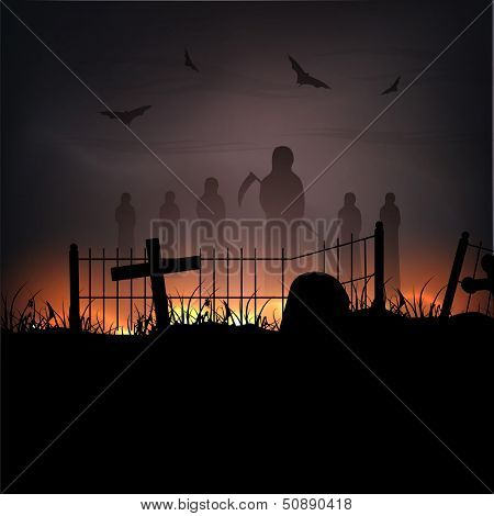 Spooky Halloween night poster, banner or background with silhouettes of ghost.