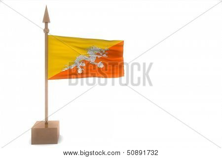 butan waving flag isolated on white