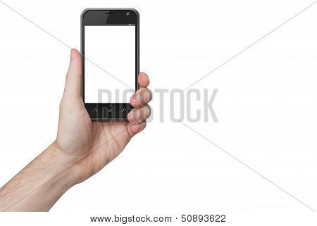 Isolated Male Hand Holding The Phone Isolated