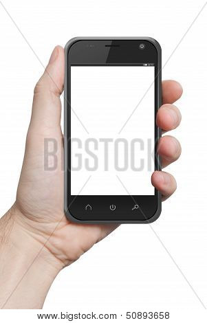 Isolated Male Hand Holding The Phone Tablet Touch Computer Gadget Isolated