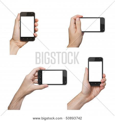 Isolated Male Hands Holding The Phone