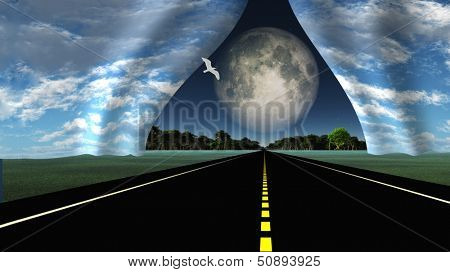 Road leads into rip in fabric of reality