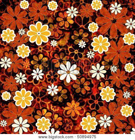 Nature Floral Pattern Orange