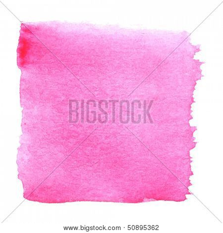 Abstract watercolor art hand paint isolated on white background. Watercolor stains. Square pink watercolor banner