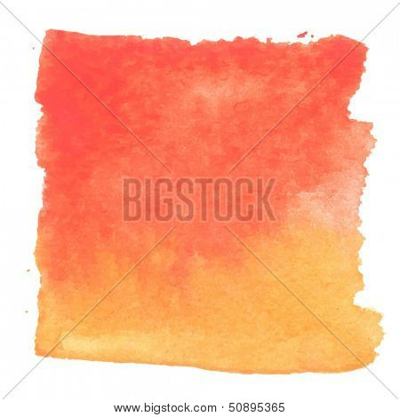 Abstract watercolor art hand paint isolated on white background. Watercolor stains. Square red-orange watercolor banner
