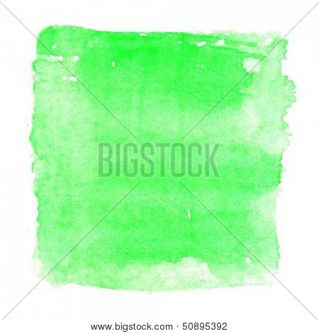 Abstract watercolor art hand paint isolated on white background. Watercolor stains. Square green watercolor banner