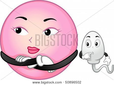 Mascot Illustration Featuring an Egg Cell Ignoring a Sperm Cell