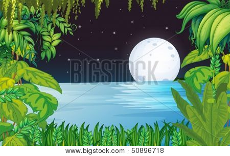 Illustration of a lake in the forest under the bright fullmoon