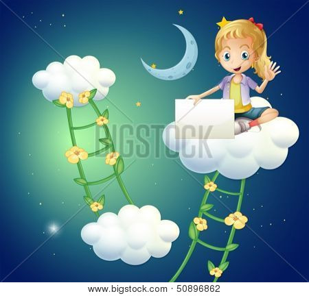 Illustration of a girl sitting above a cloud holding an empty signage