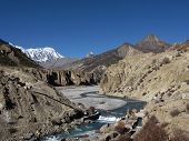 Marsyangdi River And Tilicho Peak