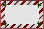 stock photo of candy cane border  - Candy Cane Striped Christmas Background with Stars and center for copy - JPG