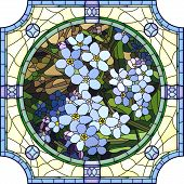 picture of forget me not  - Vector mosaic with large cells of brightly blue forget - JPG