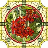 picture of mountain-ash  - Vector mosaic with large cells of brightly red berries of mountain ash in round stained - JPG