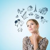 foto of family planning  - Portrait of dreaming girl looking up into the corner making future plans - JPG