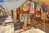 JERUSALEM - AUGUST 21: Old city market offers middle east traditional products and souvenirs very po