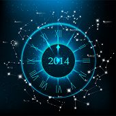 picture of cosmos  - Vector horoscopes clock - JPG