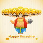 stock photo of ravana  - illustration of Ravana with ten heads for Dussehra - JPG
