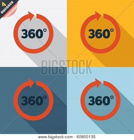 Angle 360 degrees sign icon. Geometry math symbol