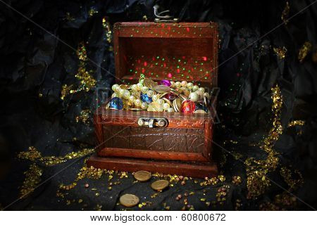 treasure box in gold mine cave