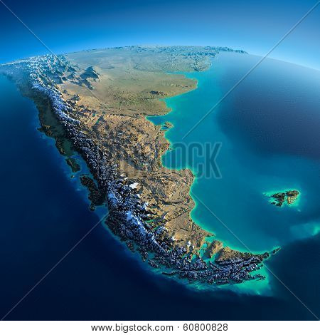 Detailed Earth. South America. Tierra Del Fuego