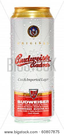 Can Of Budweiser Budvar Beer Isolated On White