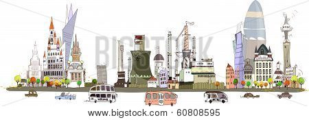 City and factory on the busy road, City collection background