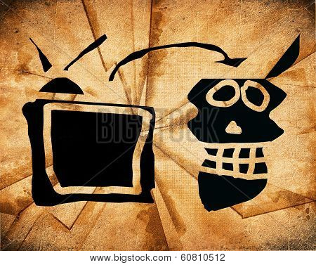 Watching Tv Subliminal Message Concept