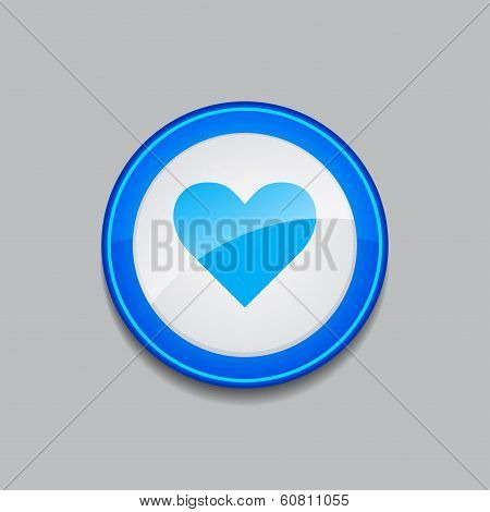 Heart Circular Blue Vector Web Button Icon