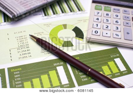 Financial Planning Pen And Calculator